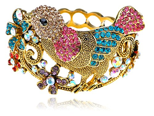 Alilang Golden Multicolor Rainbow Crystal Rhinestone Floral Sparrow Robin Bird Bangle Cuff - Wings Princess Jeweled Fairy