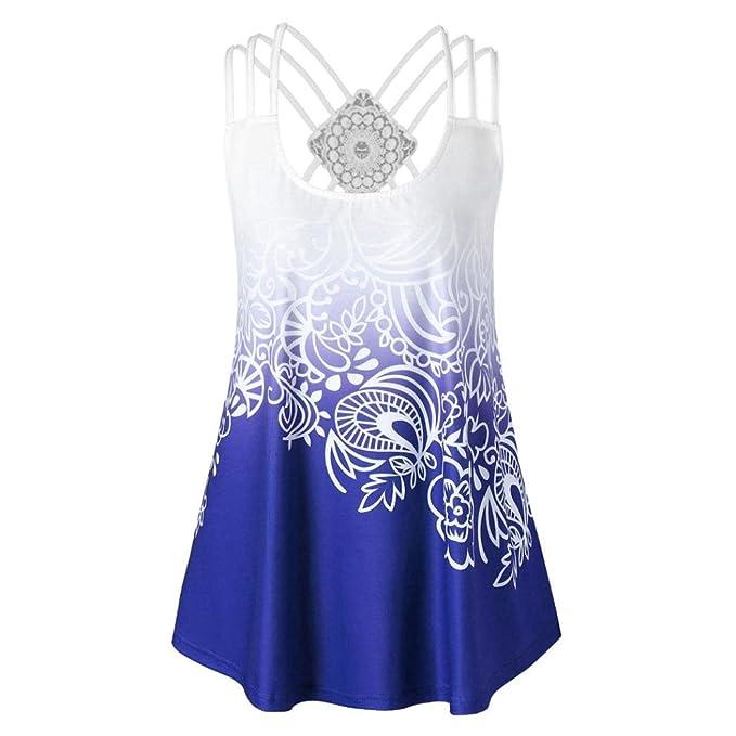 Logobeing Mujer Camisetas Blusas Tops Vendajes para Mujer de Moda Camisetas Sin Mangas de Encaje con