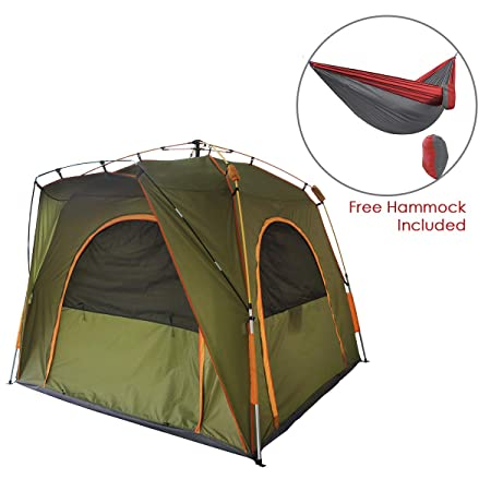 Qwest 6 Person Automatic Instant Pop Up Camping Tent, 7.5 x7.5 x6 Green Lightweight Portable Shelter with Aluminum Fiberglass Poles, Comes with a Free Portable Hammock Sets up in Seconds