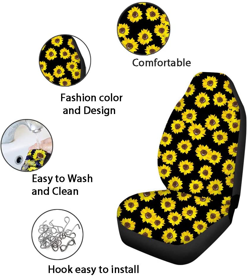 Beautiful Car Seat Covers Colorful Sunflower Pattern Pack of 2 Saddle Blanket Easy Install Remove Washable Cover Creative Design Super Soft Comfortable Decorative Protector Fits Most Car Front Seats
