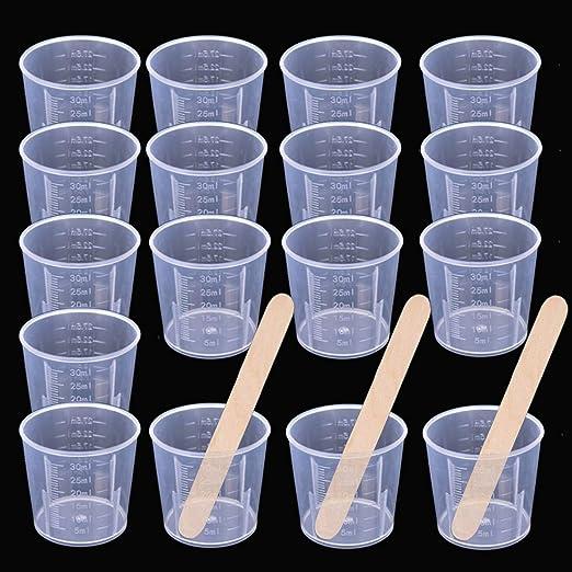 Paquete de 2 vasos mezcladores de epoxi graduados de pl/ástico transparente para pintura epoxi Artibetter Vasos medidores desechables para resina resina 600ML tinte