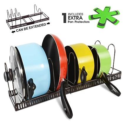 Masthome - Organizador de sartenes ajustable con capacidad para 7 sartenes y tapas para utensilios de