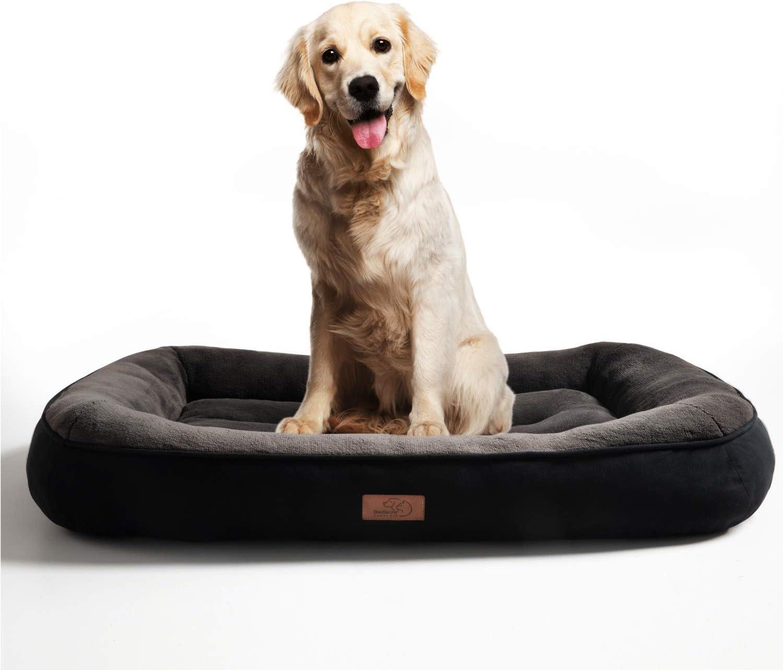 Bedsure Cama Perro Grande Lavable XL - Colchon Perro Cómoda de Felpa Muy Suave - Sofá de Perro 110x76x18cm,Negro