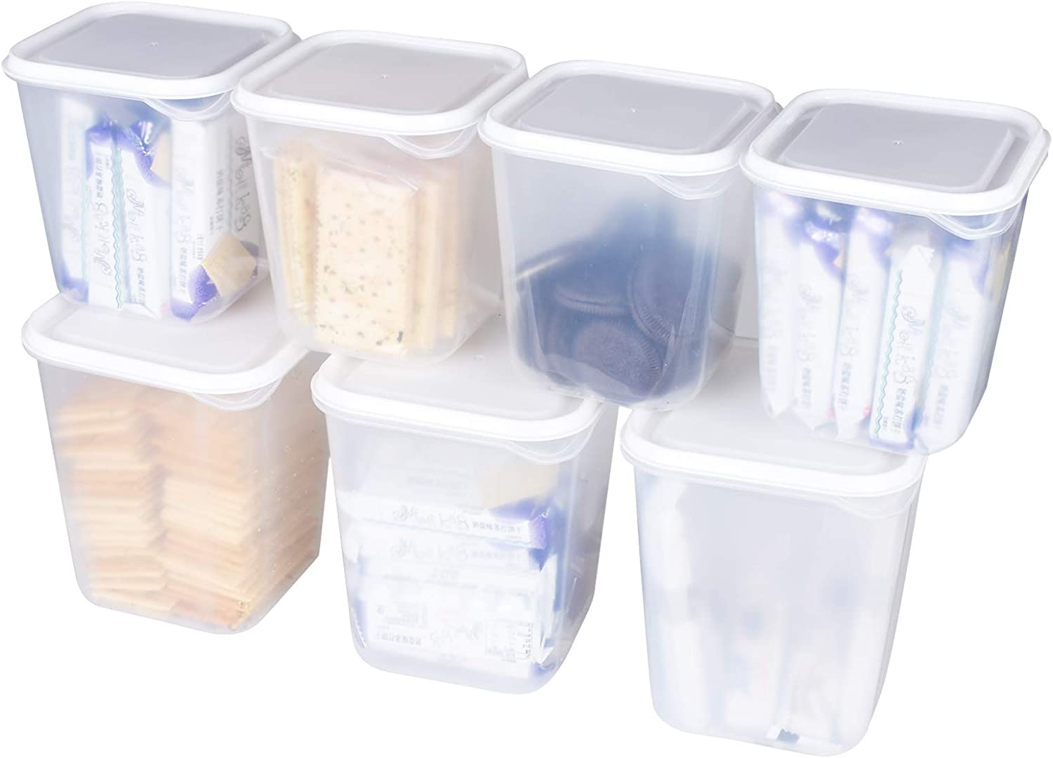 Pantry Organization and Storage, 7 Pieces DINOKA Airtight Cereal Dry Food Storage Container Set Large Kitchen & Pantry Organization BPA Free Plastic Storage Canisters with Easy Lock Lids and 8 Labels