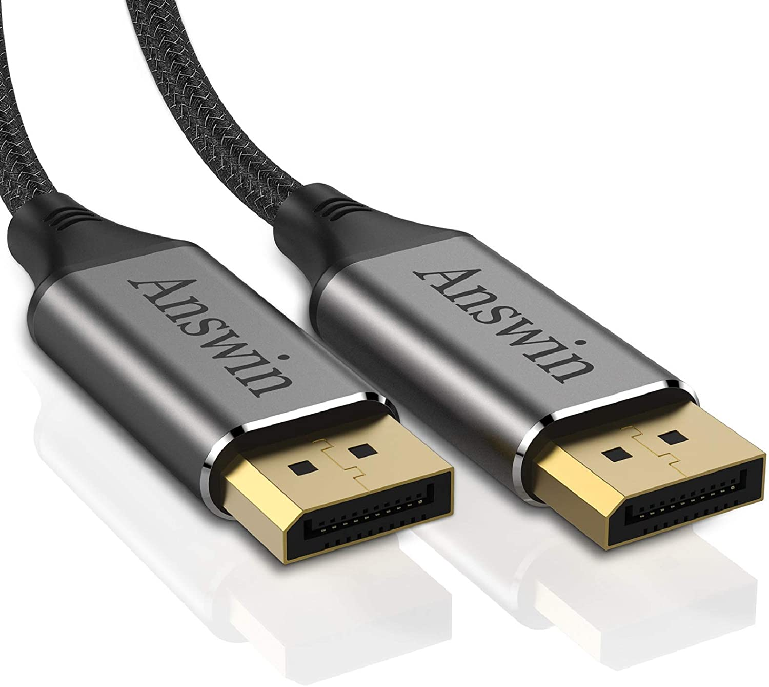 Display Port Cable Ultra High Speed DisplayPort to DisplayPort Cable for Laptop PC TV -Grey 4K@60Hz, 2K@144Hz SNANSHI 4K DP to DP Cable Nylon Braided - DisplayPort Cable 10 ft