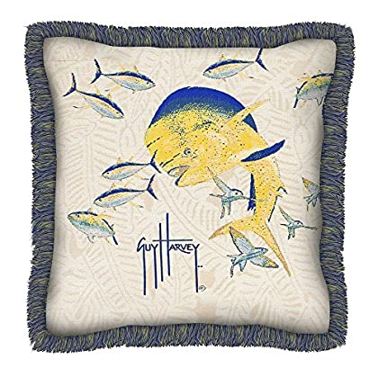 Image of Home and Kitchen FiberBuilt Umbrellas Guy Harvey Outdoor Dorado Pillow with Fringe (22 in.)