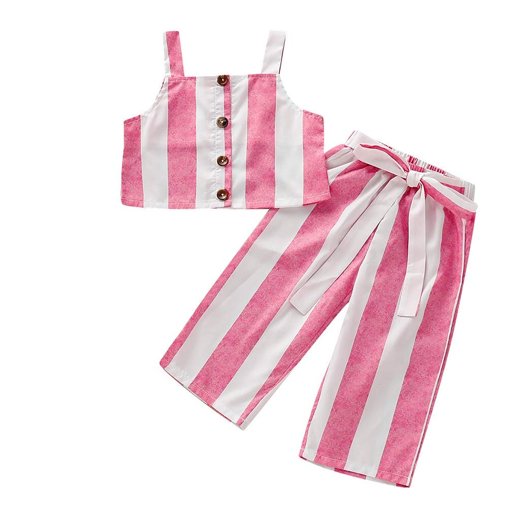 2Pcs Set Kids Girls Outfit, Baby Infant Suspender Stripe Print Sleeveless Vest Tops +Pants Set Outfit (18-24 Months, Pink)