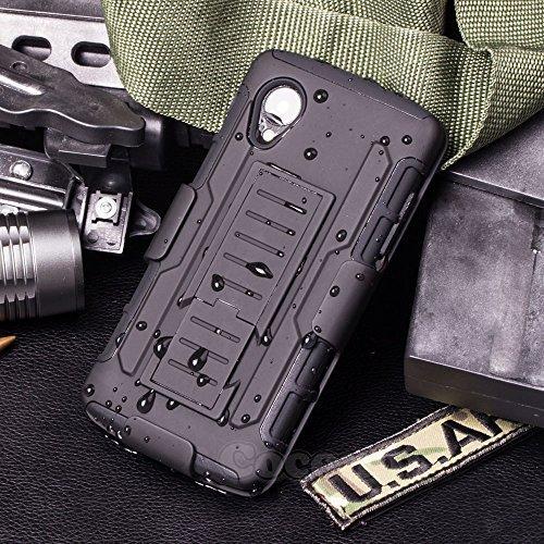 Cocomii Robot Armor LG Nexus 5 Case New [Heavy Duty] Premium Belt Clip Holster Kickstand Shockproof Hard Bumper Shell [Military Defender] Full Body Dual Layer Rugged Cover for LG Nexus 5 (R.Black) (Nexus 5 Bumper Case Black)