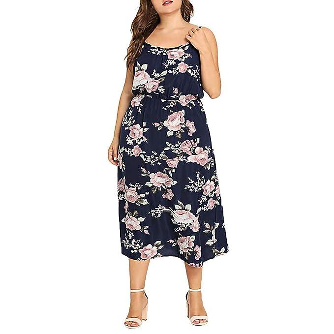 iQKA Women Summer Maxi Dress Plus Size Casual Sleeveless ...
