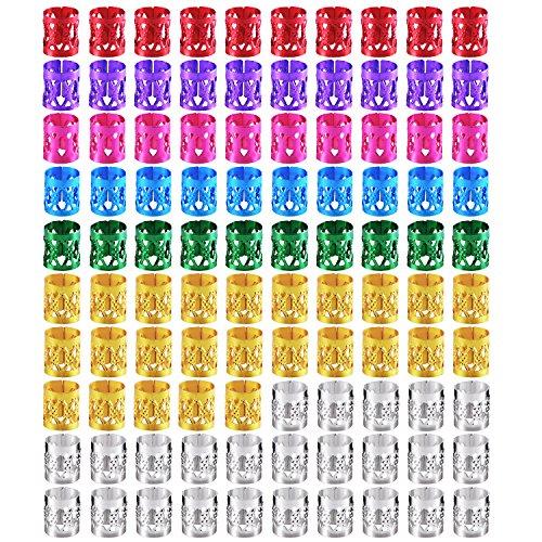 Yarn Cuff - Sumind 100 Pieces Dreadlocks Metal Hair Cuffs Hair Braiding Beads Filigree Hair Accessory, Assorted Colors