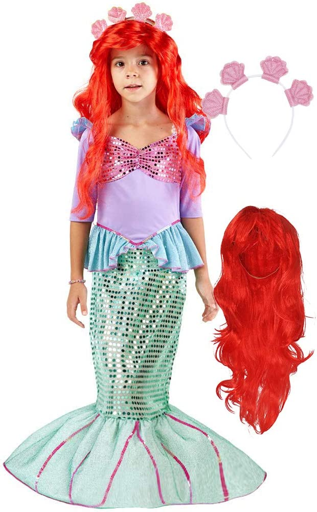Spooktacular Creations Deluxe Mermaid Costume Set with Red Wig and Headband (Small (5-7)): Clothing