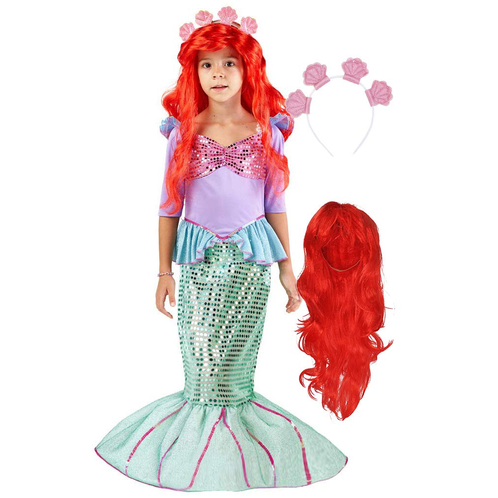Spooktacular Creations Deluxe Mermaid Costume Set with Red Wig and Headband  Small  5-7