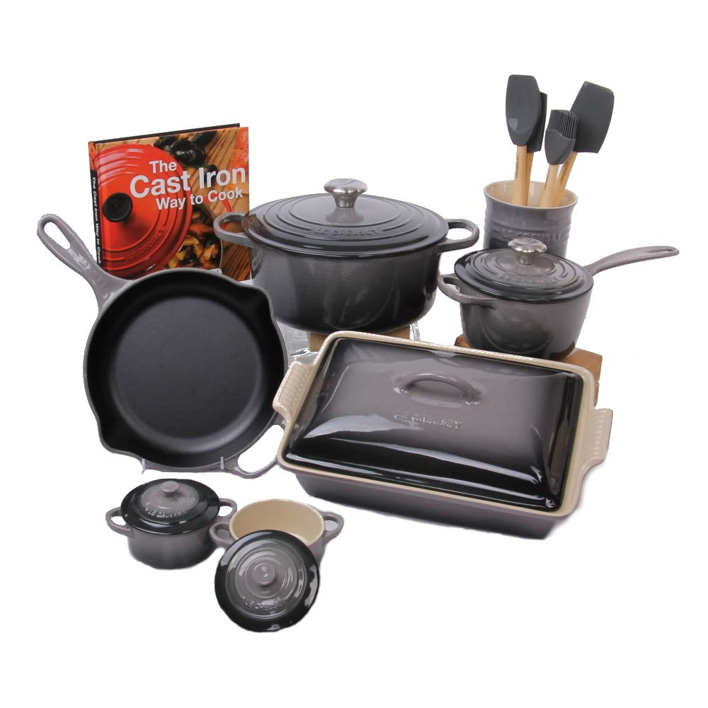 Le Creuset Oyster 14 Piece Cookware and Bakeware Set with Cookbook