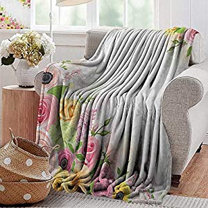 XavieraDoherty Couch Blanket,Anemone Flower,Roses Ranunculus and Hydrangea Flowers and Green Leaves Frame, Pale Pink Yellow Green,Warm & Hypoallergenic Washable Couch/Bed Throws, Microfiber 12
