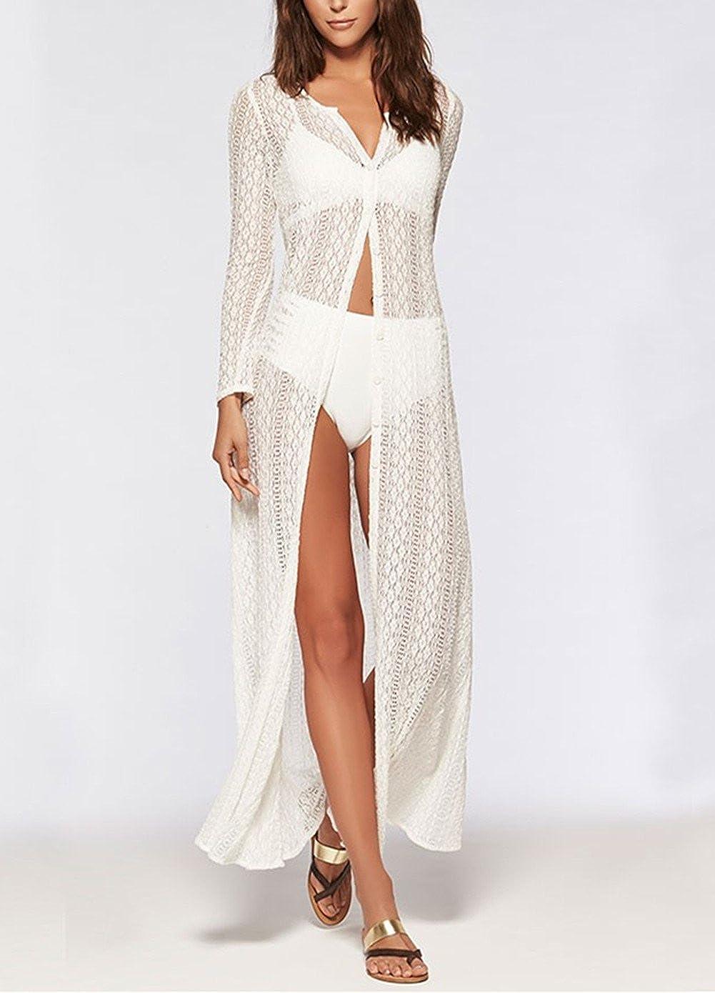 L-Peach Damen Spitze Blumen Lange Kaftan Sommerkleid Strandkleid Bikini Coverups Beachwear One Size