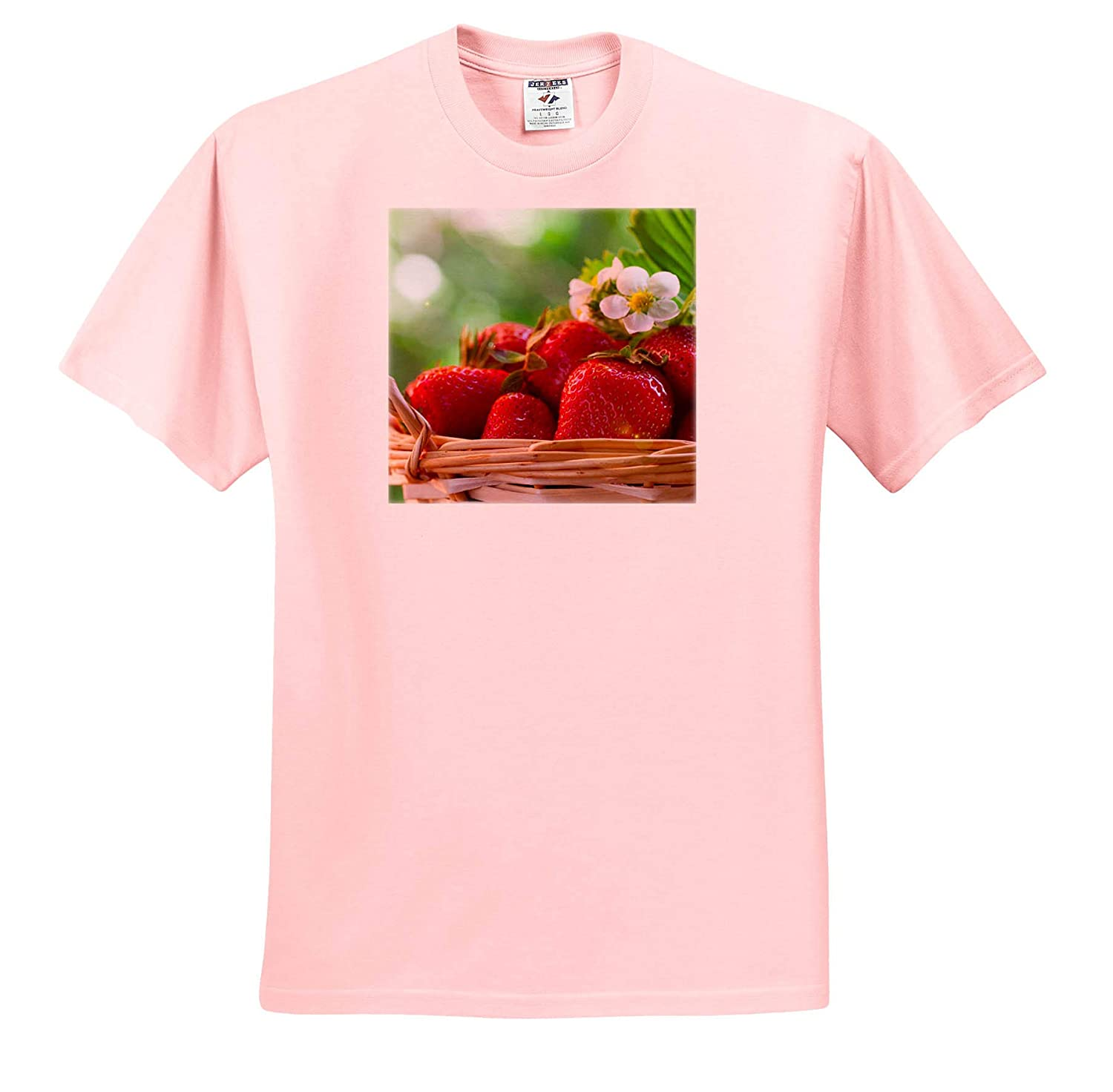 Photograph of a Basket of Delicious Nature 3dRose Stamp City - T-Shirts red Strawberries