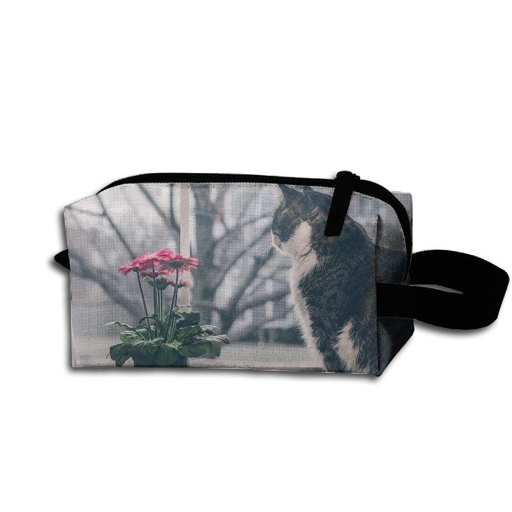 Makeup Cosmetic Bag Cat Window Zip Travel Portable Storage Pouch For Men Women