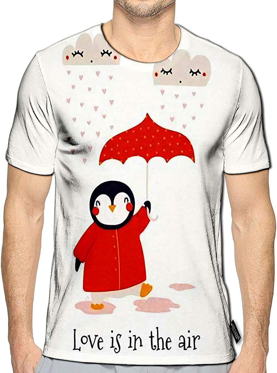 3D Printed T-Shirts Valentines Day Card with Cute Penguin Umbrella Hearts Text Love is in The Air Short Sleeve Tops Tees 61emMRzOCfL