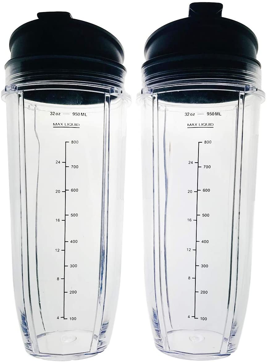 2 Pack Tritan Plastic 32 oz. Nutri Ninja Auto-IQ Replacement Blender Cups (429KKU450) with Sip N Seal Lids/Spouts for Spill-Free Drinking