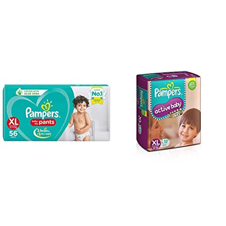 Pampers New Diapers Pants, XL  56 Count   amp; Pampers Active Baby Extra Large Size Diapers  32 Count