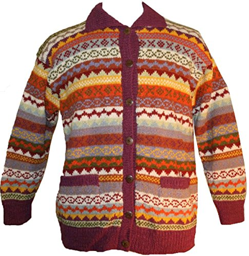 igan Sweater Hand knitted (L, Orange Burgundy 1) (Hand Knitted Cardigans)