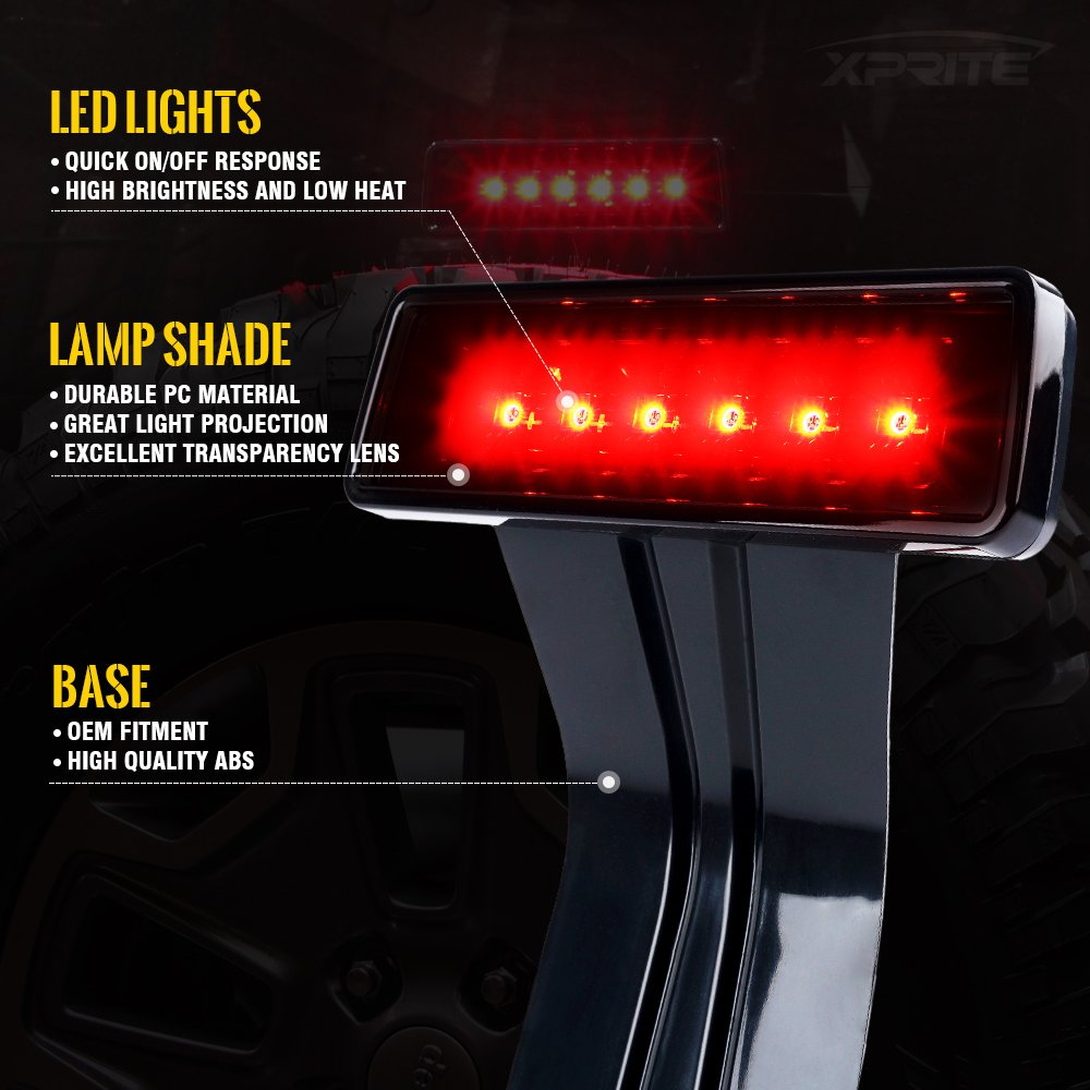 Xprite Diamond Series LED Tail Light w//Turn Signal and Back Up Function /& 3rd Brake Lights Led Clear Lens Replacemen for Jeep Wrangler JK JKU 2007-2018