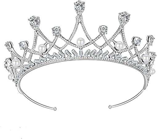 Luxury Silver White Crystal Queen Wedding Bridal Party Pageant Prom Crown 16cm