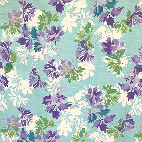 Kendall Blue Print Fabric Cotton Polyester Broadcloth by The Yard 60