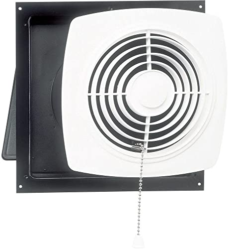 Broan-Nutone 506 Chain-Operated Ventilation Fan, Plastic White Square Exhaust Fan, 7.5 Sones, 430 CFM, 10