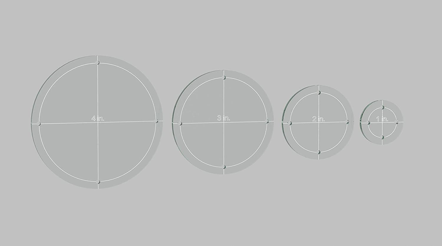 Circle Quilting Template Set, 4, 3, 2, 1 with 1/4 Seam Allowance 4 3 2 LaserThing