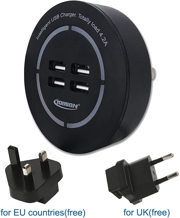 Travel Wall Charger USB Plug,TOBSON 21W 4-Port Fast Charger Worldwide Universal Travel Adapter with UK EU Adapter for Apple iPhone 8//8 Plus,iPhone 7//iPhone 6//5 and Other Cell Phones Black
