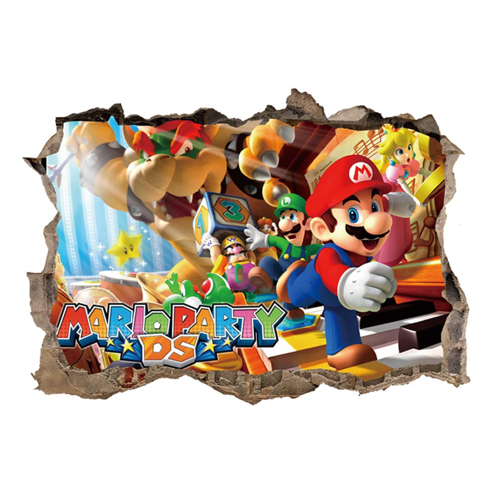 Super Mario Wall Decals for Boys Room, 3D Mario Wall Stickers Removable PVC Cartoon Wall Sticker for Kids Bedroom Living Room Playroom Wall Décor, 15.7 inches x 23.7 inches (Mario-2)