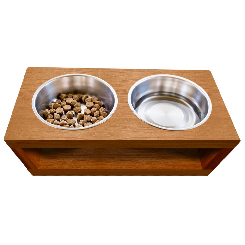 UNFINISHED Solid teak wood Elevated Dog and Cat Pet Feeder, Double Bowl Raised Stand (1/2 pint), 3/4'' thick, 16'' x 8'' x 6'' Tall