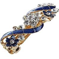 Woman Girl Blue Flower Shiny Rhinestone Barrette French Hair Clip