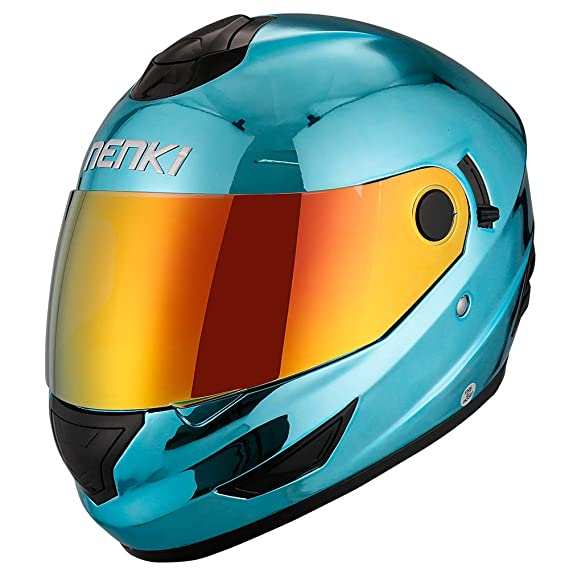 Amazon.com: NENKI Helmets NK-852 Full Face Motorcycle Helmets Dot Approved With Dual Visors (Large, Chrome Blue): Automotive
