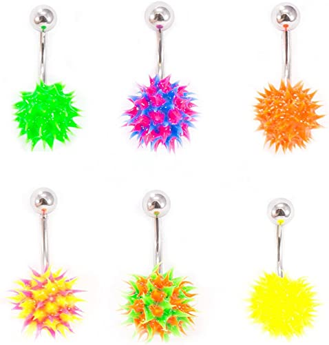 Amazon Com Belly Button Ring Navel Piercing With Spike Silicone