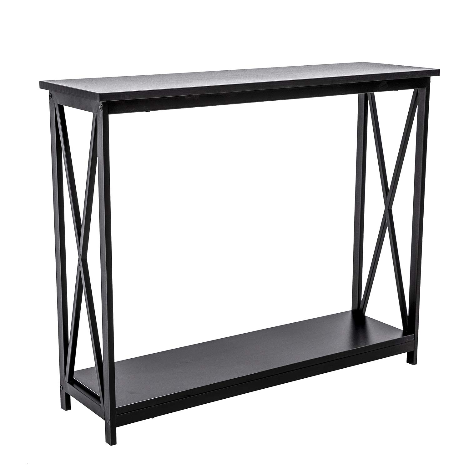 HOFOME Sofa Side Table, 2 Tier Console Table X-Design Entryway Hall Table with Storage, Long Narrow Accent Table for Living Room, Black by HOFOME