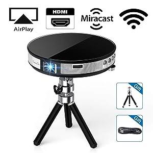 ExquizOn Proyector DLP Portátil R6 Mini Proyector 854 * 480 Soporta Video 1080P Full HD para Cine en Casa Entrada...