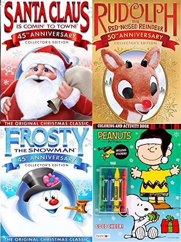 Frosty Rudolph Santa Classic Animated DVD family Holiday Fun & Bonus Charlie Brown Christmas Coloring Book with Crayons
