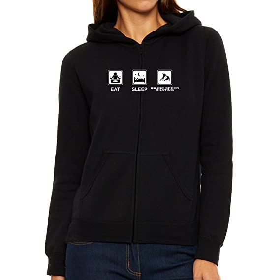 dd68d73dcf4a Eddany Eat Sleep Inline Speed Skating Women Zip Hoodie  Amazon.co.uk   Clothing