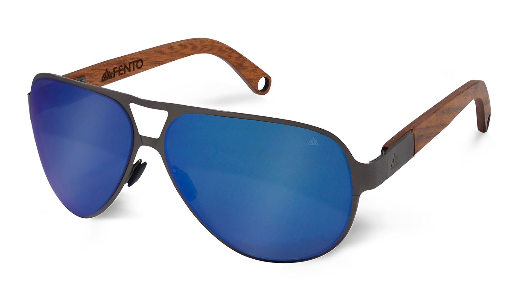 FENTO WOODEN SUNGLASSES KAVELI (Teak, Blue)
