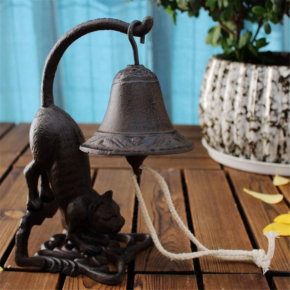 Quisilife Service Bell European Heavy Industrial Cast Iron Bell Cat Service Bell Tabletop Decor Desk Bell Dinner Bell for Office Home Eachers Elderly with Shaking Ring for Bar and Concierge Use by Quisilife