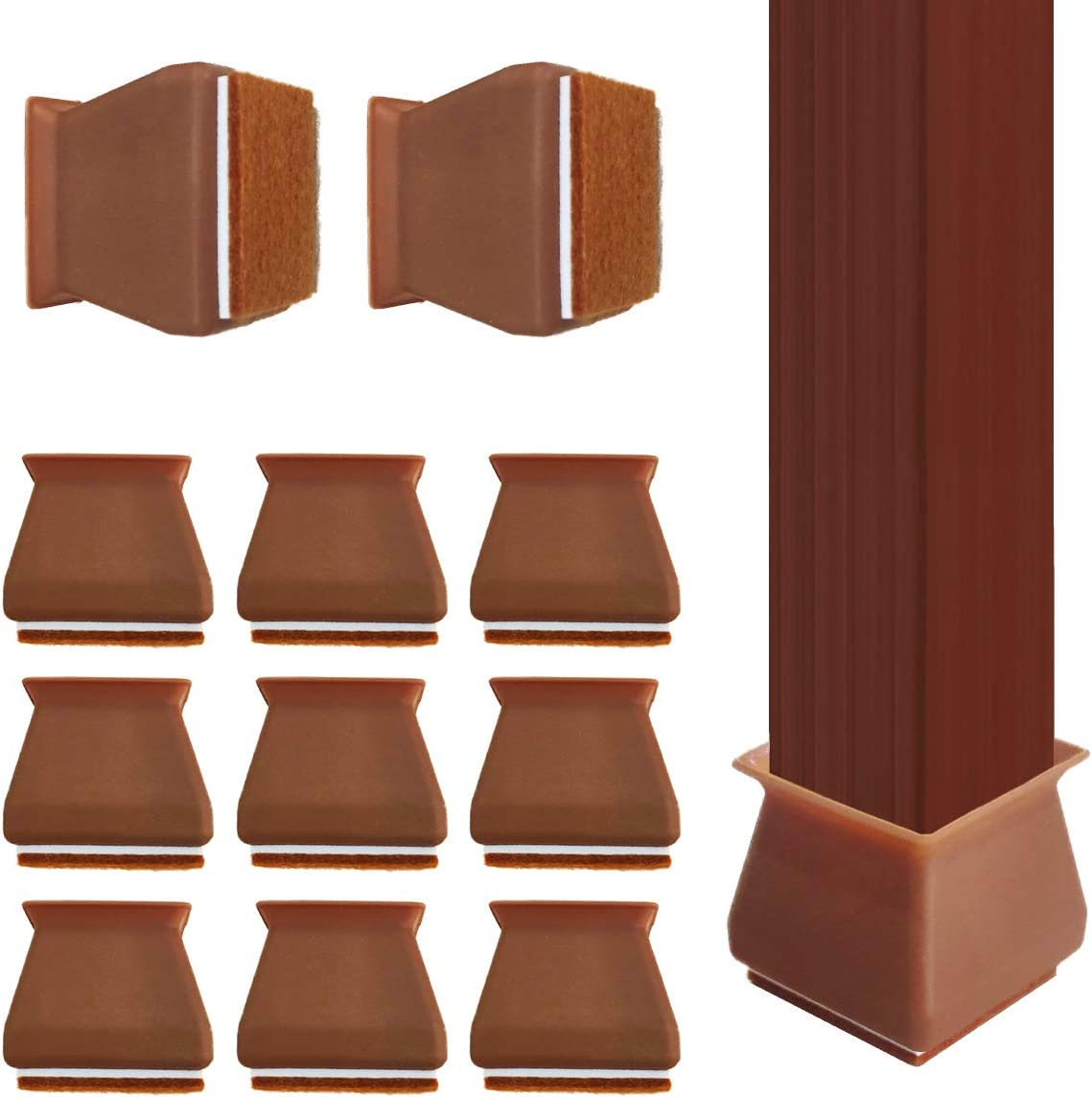 24 Pack Chair Leg caps Square, Silicone Chair Leg Floor Protectors Furniture Protection Cover with Felt Pads Anti-Slip Chair Floor Pads (Coffee)