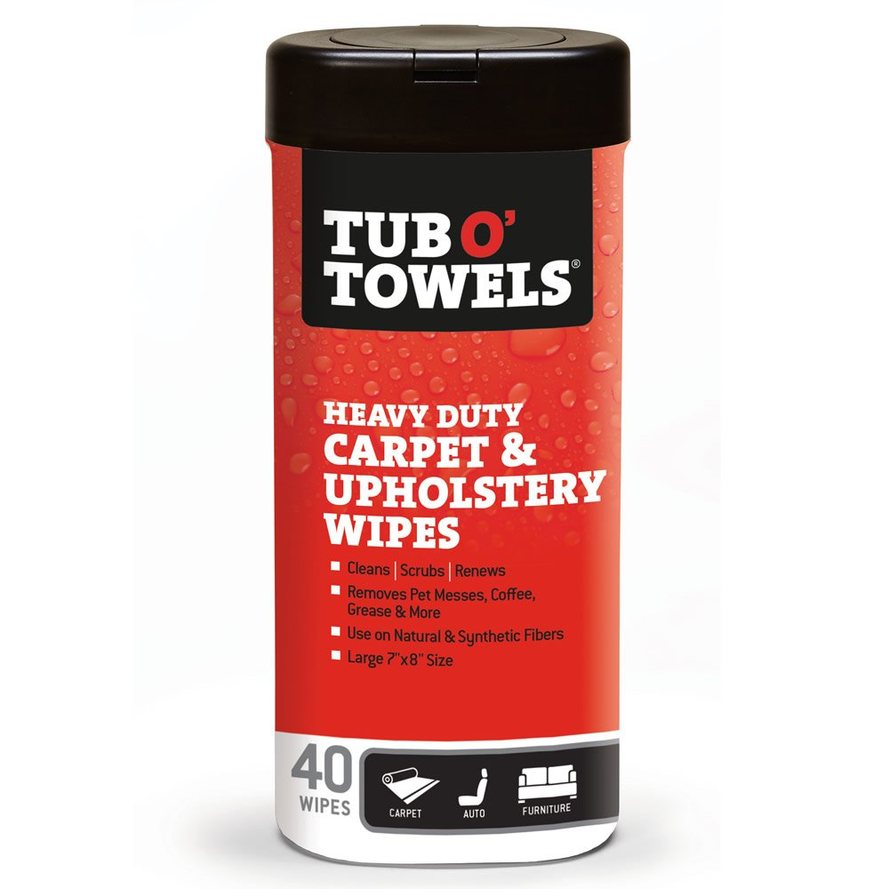 Tub O' Towels TW40-CP Carpet And Upholstery Spot Remover Cleaning Wipes (Tub of 40 Wipes) Tub O' Towels