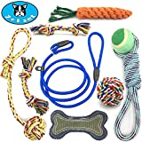 Greaval Dog Rope Toy 7 Chew Toys + 1 Dog Slip Leash – Durable Teething Toy for Puppy Tug of War Ball Dog Bone Squeaky Toy Interactive Training Toy for Small/Medium Dog Natural Cotton Fiber Made