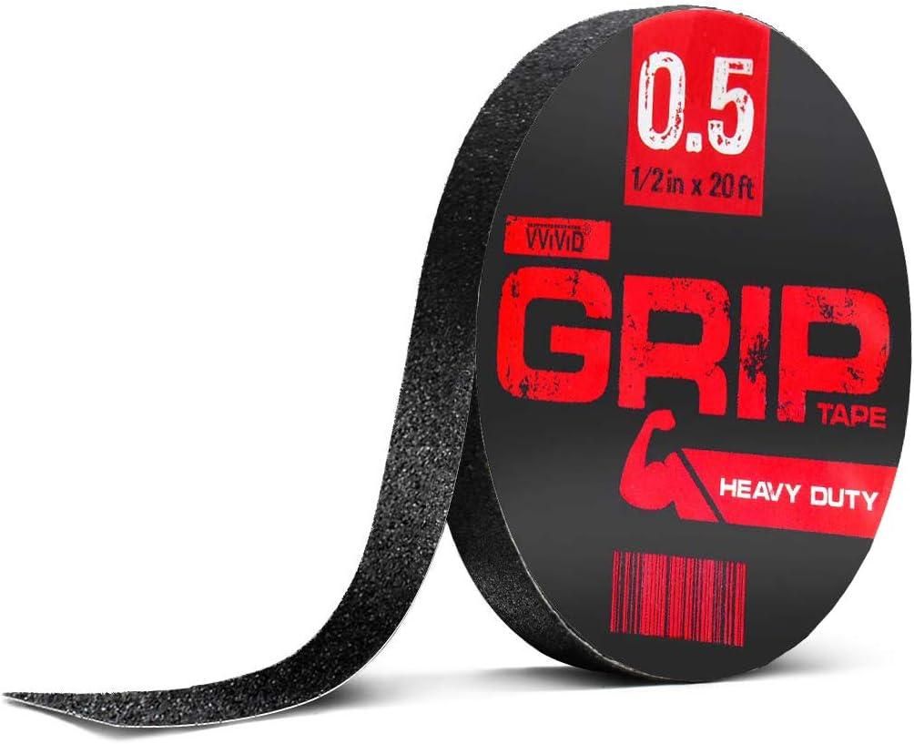 VViViD Black Rubberized Non-Slip Heavy-Duty Self-Adhesive Grip Tape Roll 4in x 20ft