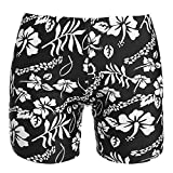 elomes Women's Mid Waist Swim Boardshorts Beach Bikini Bottoms, P Black, X-Large