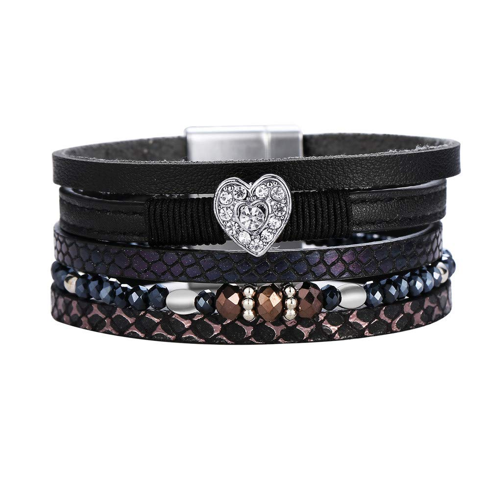 Girls Stackable Handmade Boho Wrap Charm Bracelet Cuff Bangle Chunky Wrap Around Bracelet Inlaid Rhinestone with Magnetic Buckle Gift for Women 2020 Multi-Layered Leather Wrap Bracelet