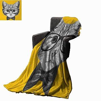 Amazon.com: Manta con diseño de flores, diseño de gato de ...