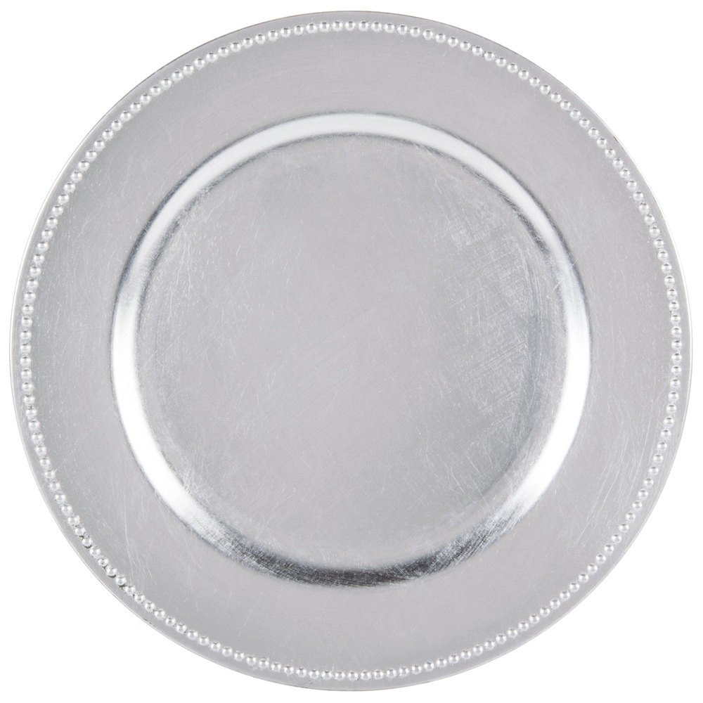 SPRINGROSE 25 Silver Charger Plates | Buy in Bulk | The Perfect Decoration for Your Tables | Perfect for Weddings, Party, Banquets, Anniversary Dinners, Christmas, Barbeques, Bridal Showers All in One Weddings SCP